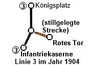 Strecke der Linie 3 im Jahr 1904 bei der Umlegung der Strecke zur Infantriekaserne