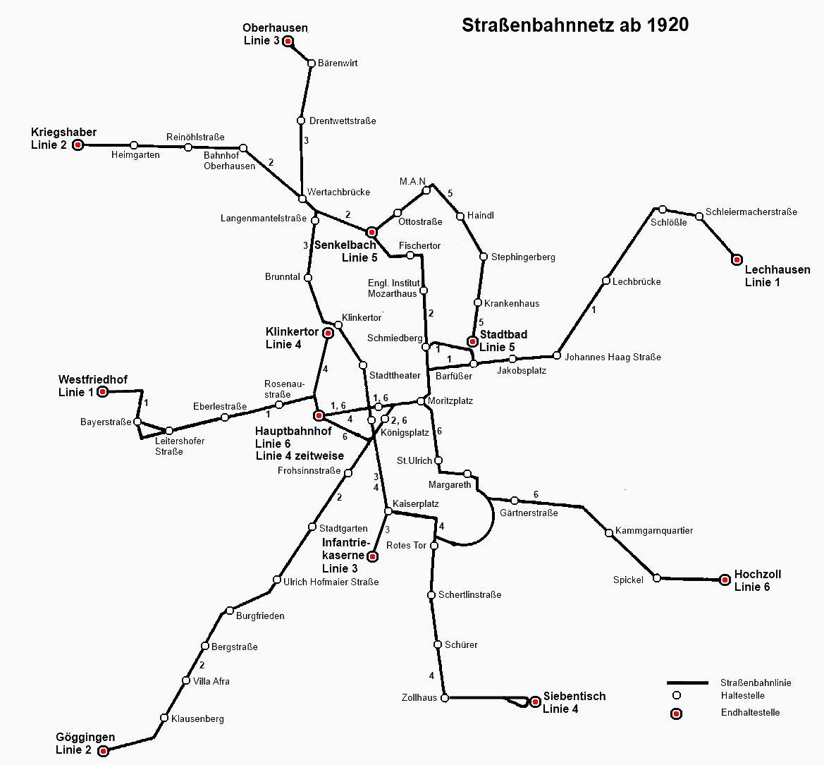 Liniennetz um 1920