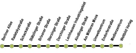 Linienweg der Linie 48